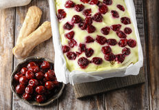Cherry cake with lady finger biscuits Stock Photography