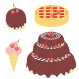 Cherry cake, pie and ice cream. On white background Royalty Free Stock Images