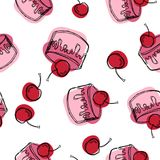 Cherry cake, pink cake seamless vector pattern. Bakery background. royalty free illustration