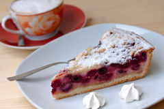 Cherry cake with sugar cookies Stock Image