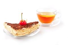 Cherry cake and tea Stock Photo
