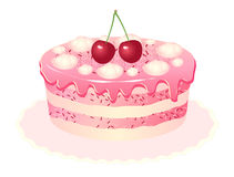 Cherry cake white background Royalty Free Stock Photos