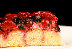 Cherry cake on white dish Stock Photography