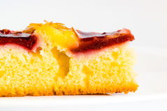 Cherry cake on white dish Royalty Free Stock Images