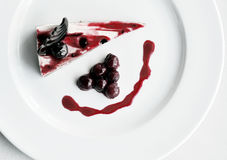 Cherry cake on white plate Royalty Free Stock Image