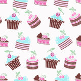 Cherry cakes pattern Stock Image