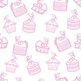 Cherry cakes pattern Royalty Free Stock Photo