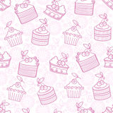 Cherry cakes pattern Royalty Free Stock Photography