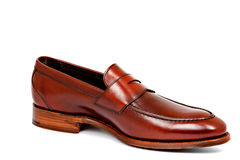 Cherry calf penny loafer shoe toe to right Stock Image