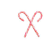 Cherry candy canes, isolated. Stock Photos