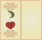 Cherry card color woodcut Royalty Free Stock Image
