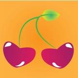 Cherry. Cartoon cherry on orange background Royalty Free Stock Images