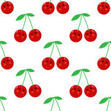 Cherry cartoon seamless childlike  pattern. Design Royalty Free Stock Photography