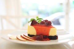 Cherry cheese cake, dessert. Cherry cheese cake on a plate stock photo