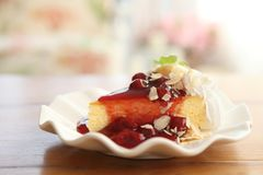 Cherry cheese cake, dessert. Cherry cheese cake in close up royalty free stock photography