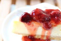 Cherry cheese cake, dessert. Cherry cheese cake in close up royalty free stock image