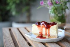 Cherry cheese cake, dessert. Cherry cheese cake on a plate stock photography