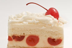 Cherry cheese cake. Close up photo of appetizing cherry cheese cake Stock Images