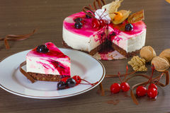 Cherry Cheese Cake Royalty Free Stock Photos
