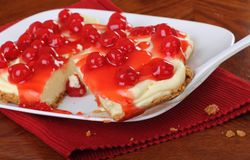 Cherry Cheesecake Royalty Free Stock Images