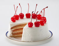 Cherry cheesecake isolated  Stock Images