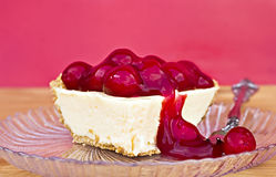 Cherry cheesecake. Delicious serving of cherry cheesecake Stock Photo