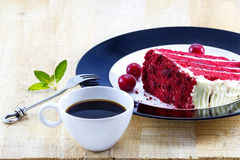 Cherry cheesecake of coffee and raw cherry with mint Royalty Free Stock Photography