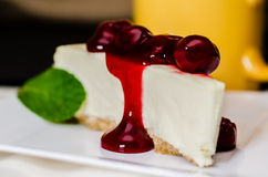 Cherry Cheesecake and Coffee Royalty Free Stock Images