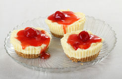 Cherry Cheesecake Cupcakes Royalty Free Stock Images