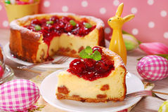 Cherry cheesecake for easter Stock Image