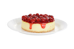 Cherry cheesecake isolated Stock Photography