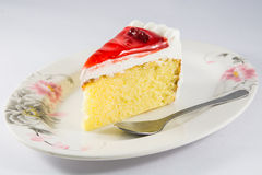 Cherry cheesecake macro with fork Stock Photography