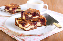 Cherry cheesecake marbled brownies Stock Photo