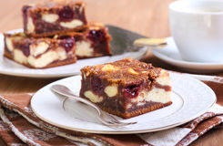 Cherry cheesecake marbled brownies Stock Photos