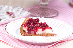 Cherry cheesecake on the plate Stock Photos