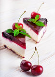 Cherry cheesecake with tea Stock Photos