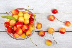 Cherry. Cherries in bowl. Fresh yellow cherry. Cherry on white wooden background. healthy food concept. Fresh berries. Sweet cherry background, on a rustic Royalty Free Stock Image