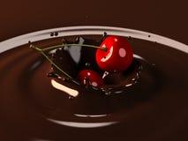 Cherry choco splash royalty free illustration