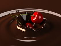 Cherry choco splash Royalty Free Stock Photo