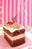 Cherry chocolate birthday cake Stock Images