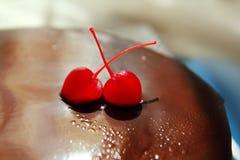 Cherry and chocolate brownie cake macro Stock Photography