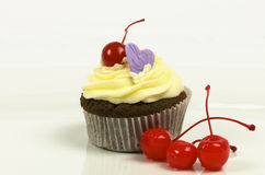 Cherry chocolate cupcake Stock Images