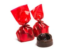 Cherry in chocolate isolated royalty free stock photo