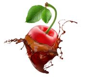Cherry in chocolate splash isolated on a white background Stock Photo