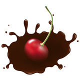Cherry In Chocolate Splash. Vector  Stock Photo