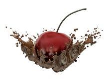 Cherry and chocolate splash Stock Photos