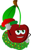 Cherry with Christmas wreath and Santa hat Royalty Free Stock Photography