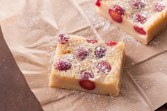 Cherry clafoutis on brown paper Royalty Free Stock Photography