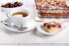 Cherry clafoutis - traditional French sweet fruit dessert stock image