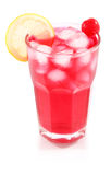 Cherry cocktail with ice and lemon in glass Royalty Free Stock Images